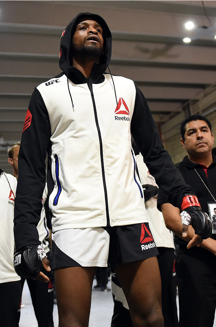 MONTERREY, MEXICO - NOVEMBER 21:  Neil Magny of the United States prepares to enter the arena before his welterweight bout against Kelvin Gastelum during the UFC Fight Night event at Arena Monterrey on November 21, 2015 in Monterrey, Mexico.  (Photo by Mi