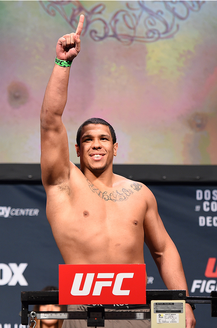 ORLANDO, FL - DECEMBER 18:   Luis Henrique of Brazil weighs in during the UFC weigh-in at the Orange County Convention Center on December 18, 2015 in Orlando, Florida. (Photo by Josh Hedges/Zuffa LLC/Zuffa LLC via Getty Images)