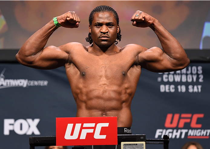 ORLANDO, FL - DECEMBER 18:   Francis Ngannou of France weighs in during the UFC weigh-in at the Orange County Convention Center on December 18, 2015 in Orlando, Florida. (Photo by Josh Hedges/Zuffa LLC/Zuffa LLC via Getty Images)