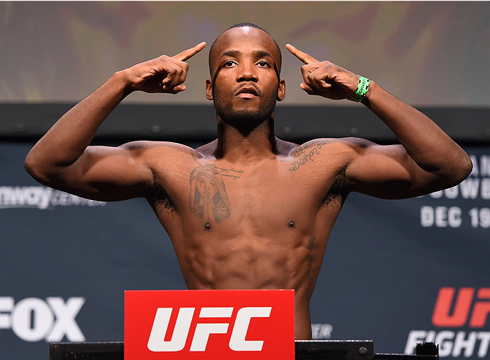 ORLANDO, FL - DECEMBER 18:   Leon Edwards of England weighs in during the UFC weigh-in at the Orange County Convention Center on December 18, 2015 in Orlando, Florida. (Photo by Josh Hedges/Zuffa LLC/Zuffa LLC via Getty Images)