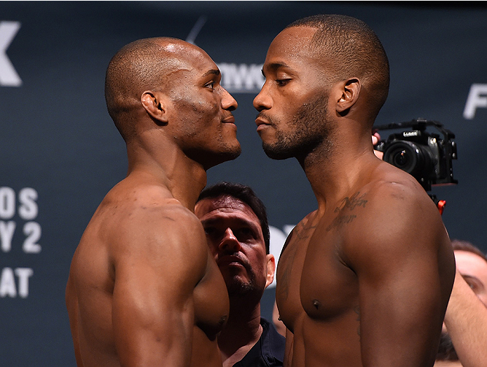 ORLANDO, FL - DECEMBER 18:   (L-R) Opponents Kamaru Usman and Leon Edwards of England face off during the UFC weigh-in at the Orange County Convention Center on December 18, 2015 in Orlando, Florida. (Photo by Josh Hedges/Zuffa LLC/Zuffa LLC via Getty Ima