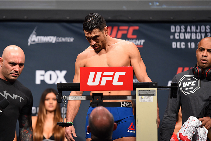 ORLANDO, FL - DECEMBER 18:   Danny Castillo weighs in during the UFC weigh-in at the Orange County Convention Center on December 18, 2015 in Orlando, Florida. (Photo by Josh Hedges/Zuffa LLC/Zuffa LLC via Getty Images)