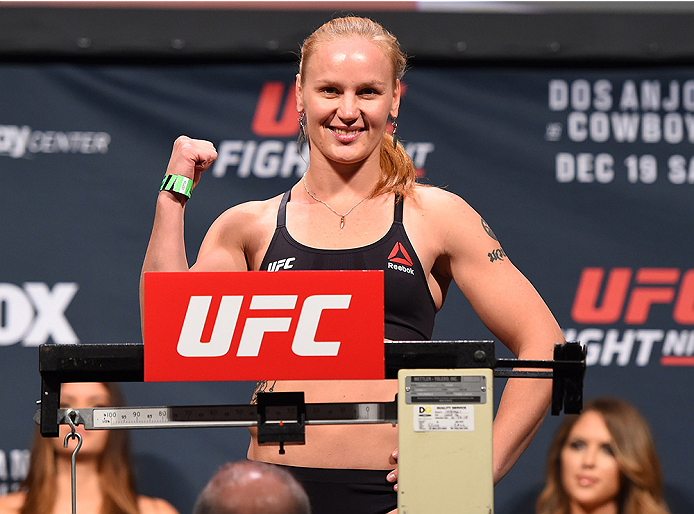 ORLANDO, FL - DECEMBER 18:   Valentina Shevchenko of Russia weighs in during the UFC weigh-in at the Orange County Convention Center on December 18, 2015 in Orlando, Florida. (Photo by Josh Hedges/Zuffa LLC/Zuffa LLC via Getty Images)