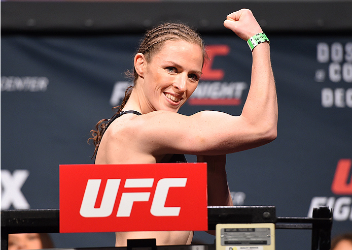 ORLANDO, FL - DECEMBER 18:   Sarah Kaufman of Canada weighs in during the UFC weigh-in at the Orange County Convention Center on December 18, 2015 in Orlando, Florida. (Photo by Josh Hedges/Zuffa LLC/Zuffa LLC via Getty Images)