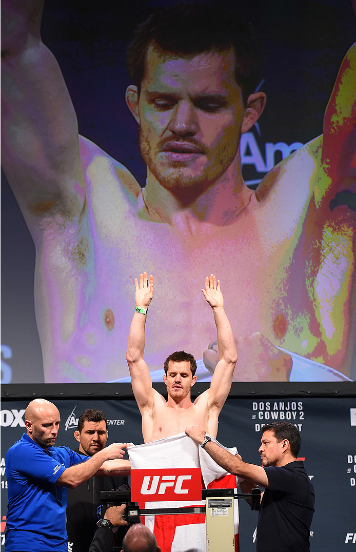 ORLANDO, FL - DECEMBER 18:   CB Dollaway weighs in during the UFC weigh-in at the Orange County Convention Center on December 18, 2015 in Orlando, Florida. (Photo by Josh Hedges/Zuffa LLC/Zuffa LLC via Getty Images)