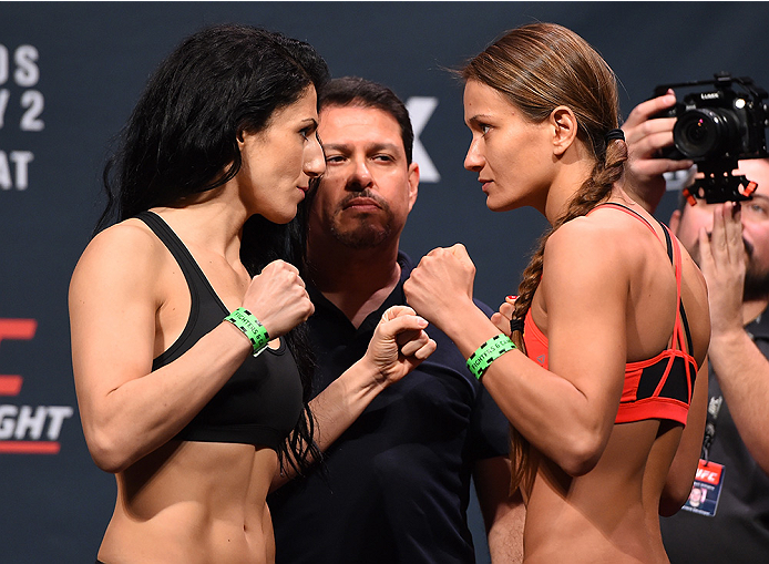 ORLANDO, FL - DECEMBER 18:   (L-R) Opponents Randa Markos and Karolina Kowalkiewicz of Poland face off during the UFC weigh-in at the Orange County Convention Center on December 18, 2015 in Orlando, Florida. (Photo by Josh Hedges/Zuffa LLC/Zuffa LLC via G