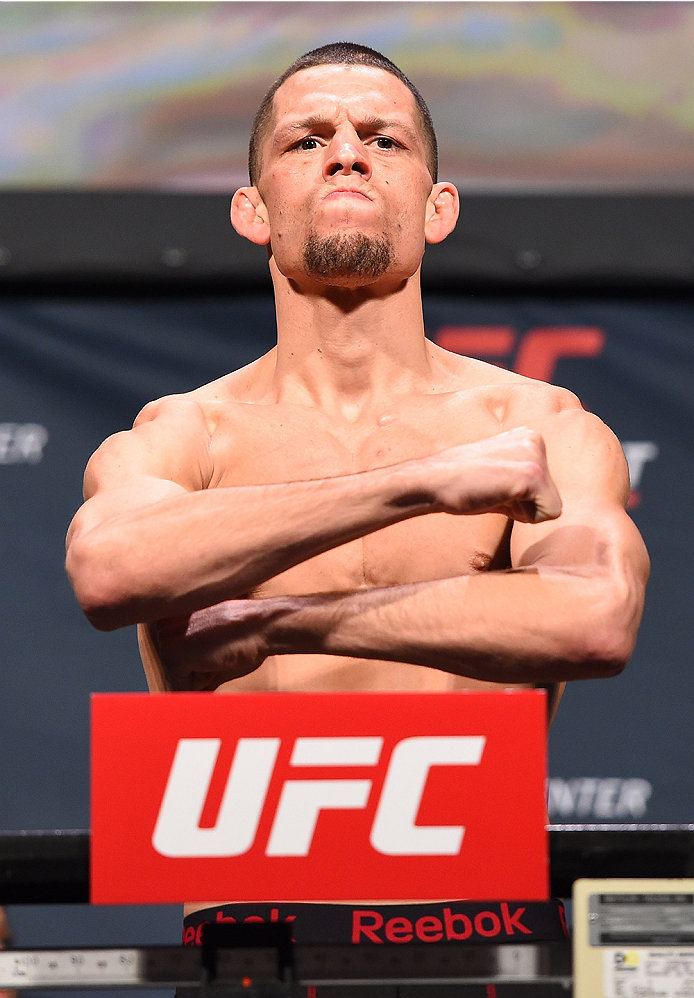 ORLANDO, FL - DECEMBER 18:  Nate Diaz weighs in during the UFC weigh-in at the Orange County Convention Center on December 18, 2015 in Orlando, Florida. (Photo by Josh Hedges/Zuffa LLC/Zuffa LLC via Getty Images)