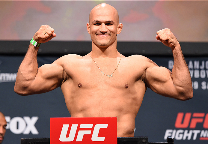 ORLANDO, FL - DECEMBER 18:   Junior dos Santos of Brazil weighs in during the UFC weigh-in at the Orange County Convention Center on December 18, 2015 in Orlando, Florida. (Photo by Josh Hedges/Zuffa LLC/Zuffa LLC via Getty Images)