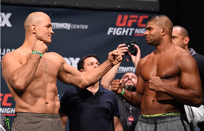ORLANDO, FL - DECEMBER 18:   (L-R) Opponents Junior dos Santos of Brazil and Alistair Overeem of the Netherlands face off during the UFC weigh-in at the Orange County Convention Center on December 18, 2015 in Orlando, Florida. (Photo by Josh Hedges/Zuffa