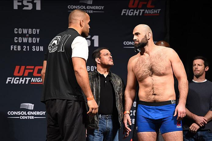 PITTSBURGH, PA - FEBRUARY 20:  (L-R) Anthony Hamilton of the United States and Shamil Abdurakhimov of Russia face off during the UFC Fight Night weigh-in at Stage AE on February 20, 2016 in Pittsburgh, Pennsylvania. (Photo by Jeff Bottari/Zuffa LLC/Zuffa