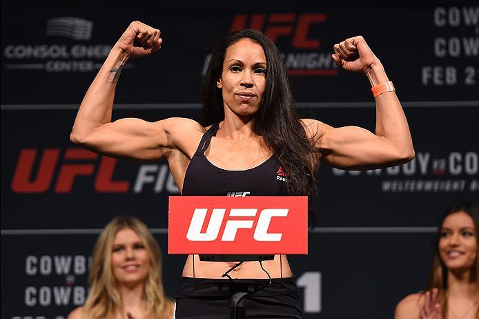 PITTSBURGH, PA - FEBRUARY 20:  Marion Reneau of the United States steps on the scale during the UFC Fight Night weigh-in at Stage AE on February 20, 2016 in Pittsburgh, Pennsylvania. (Photo by Jeff Bottari/Zuffa LLC/Zuffa LLC via Getty Images)