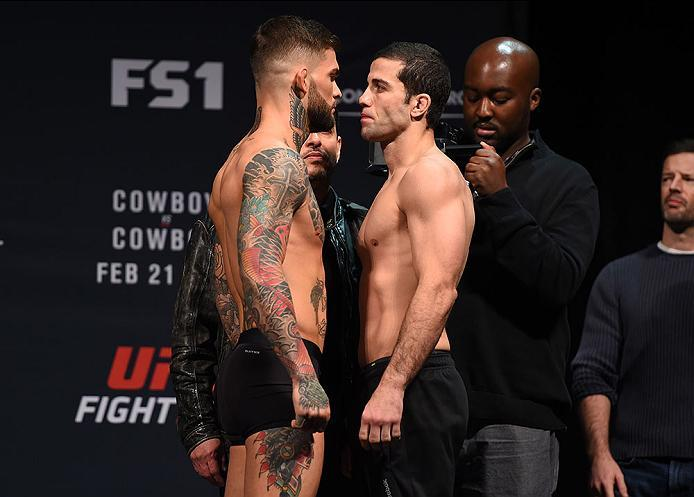 PITTSBURGH, PA - FEBRUARY 20:  (L-R) Cody Garbrandt of the United States faces off against Augusto Mendes of Brazil during the UFC Fight Night weigh-in at Stage AE on February 20, 2016 in Pittsburgh, Pennsylvania. (Photo by Jeff Bottari/Zuffa LLC/Zuffa LL