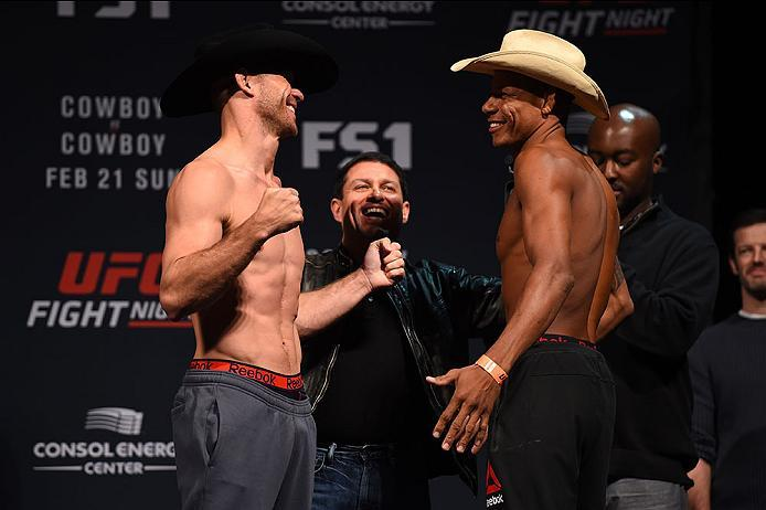 PITTSBURGH, PA - FEBRUARY 20:  (L-R) Donald Cerrone of the United States faces off against Alex Oliveira of Brazil during the UFC Fight Night weigh-in at Stage AE on February 20, 2016 in Pittsburgh, Pennsylvania. (Photo by Jeff Bottari/Zuffa LLC/Zuffa LLC