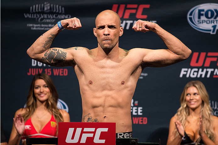 SAN DIEGO, CA - JULY 14:  Igor Araujo of Brazil steps on the scale during the UFC weigh-in at the Valley View Casino Center on July 14, 2015 in San Diego, California. (Photo by Jeff Bottari/Zuffa LLC/Zuffa LLC via Getty Images)