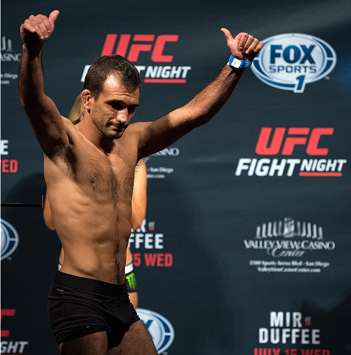 SAN DIEGO, CA - JULY 14:  Rani Yahya of Brazil steps off the scale during the UFC weigh-in at the Valley View Casino Center on July 14, 2015 in San Diego, California. (Photo by Jeff Bottari/Zuffa LLC/Zuffa LLC via Getty Images)