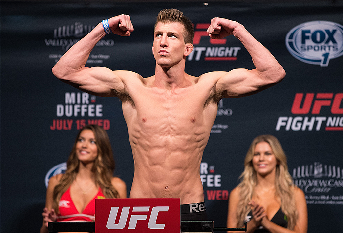 SAN DIEGO, CA - JULY 14:  Matt Dwyer of Canada steps on the scale during the UFC weigh-in at the Valley View Casino Center on July 14, 2015 in San Diego, California. (Photo by Jeff Bottari/Zuffa LLC/Zuffa LLC via Getty Images)