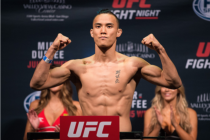 SAN DIEGO, CA - JULY 14:  James Moontasri steps on the scale during the UFC weigh-in at the Valley View Casino Center on July 14, 2015 in San Diego, California. (Photo by Jeff Bottari/Zuffa LLC/Zuffa LLC via Getty Images)