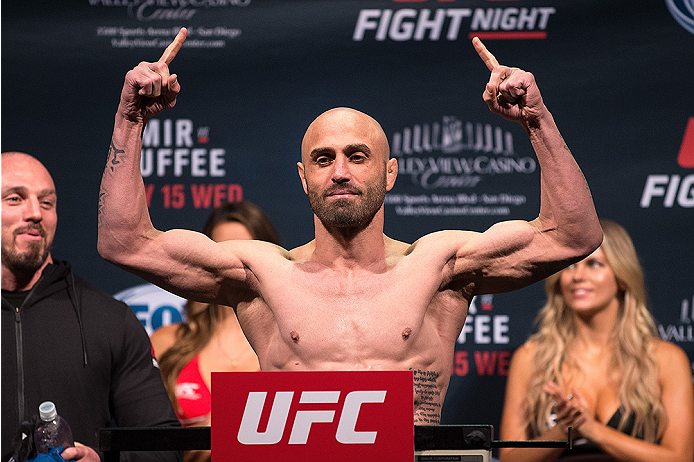 SAN DIEGO, CA - JULY 14:  Manny Gamburyan steps on the scale during the UFC weigh-in at the Valley View Casino Center on July 14, 2015 in San Diego, California. (Photo by Jeff Bottari/Zuffa LLC/Zuffa LLC via Getty Images)