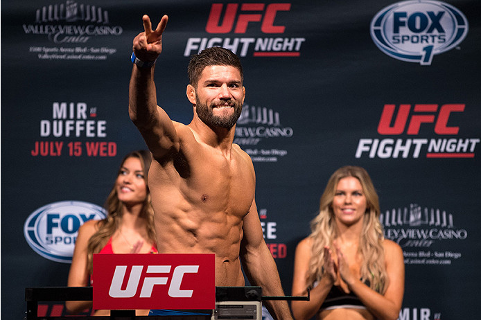 SAN DIEGO, CA - JULY 14:  Josh Thomson steps on the scale during the UFC weigh-in at the Valley View Casino Center on July 14, 2015 in San Diego, California. (Photo by Jeff Bottari/Zuffa LLC/Zuffa LLC via Getty Images)
