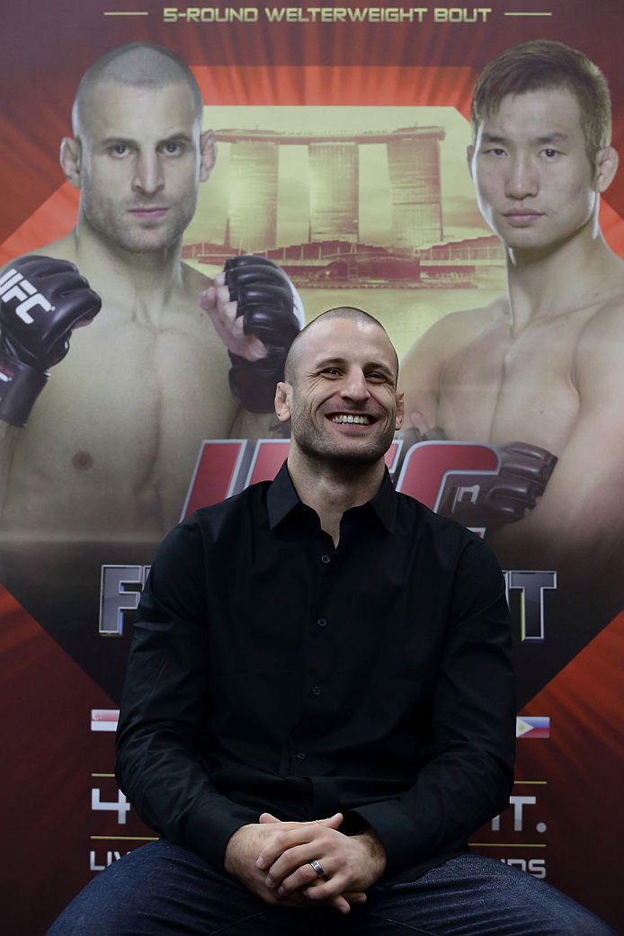 SINGAPORE - JANUARY 02:  Tarec Saffiedine attends the UFC Fight Night Singapore Ultimate Media Day at the Skating Rink at The Shoppes at Marina Bay Sand on January 2, 2014 in Singapore.  (Photo by Suhaimi Abdullah/Zuffa LLC)