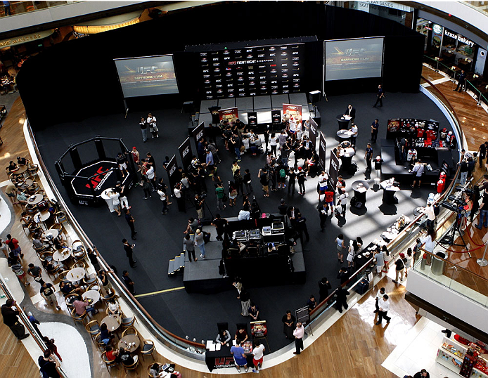 SINGAPORE - JANUARY 02:  A general view of the UFC Fight Night Singapore Ultimate Media Day at the Shoppes at Marina Bay Sands on January 2, 2014 in Singapore. (Photo by Mitch Viquez/Zuffa LLC/Zuffa LLC via Getty Images)