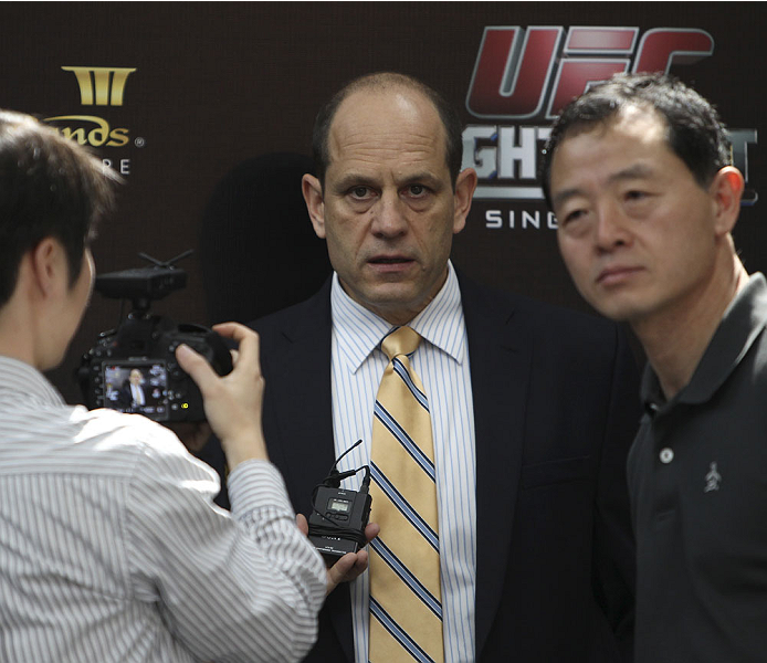 SINGAPORE - JANUARY 02:  Mark Fischer UFC Asia's Managing director interacts with media during the UFC Fight Night Singapore Ultimate Media Day at the Shoppes at Marina Bay Sands on January 2, 2014 in Singapore. (Photo by Mitch Viquez/Zuffa LLC/Zuffa LLC