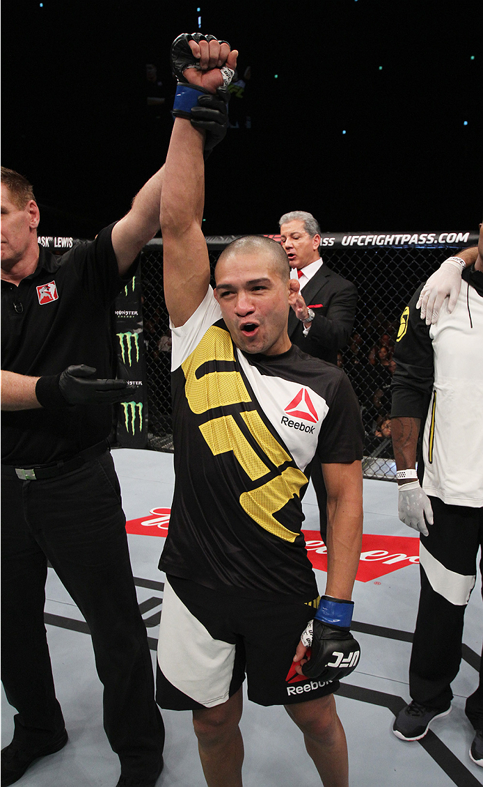 SAITAMA, JAPAN - SEPTEMBER 27: Diego Brandao of Brazil celebrates after his first round win over Katsunori Kikuno of Japan in their featherweight bout during the UFC event at the Saitama Super Arena on September 27, 2015 in Saitama, Japan. (Photo by Mitch
