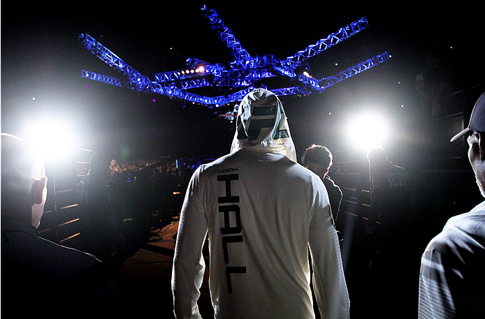 SAITAMA, JAPAN - SEPTEMBER 27:  Uriah Hall of Jamaica before his middleweight bout during the UFC event at the Saitama Super Arena on September 27, 2015 in Saitama, Japan. (Photo by Mitch Viquez/Zuffa LLC/Zuffa LLC via Getty Images)