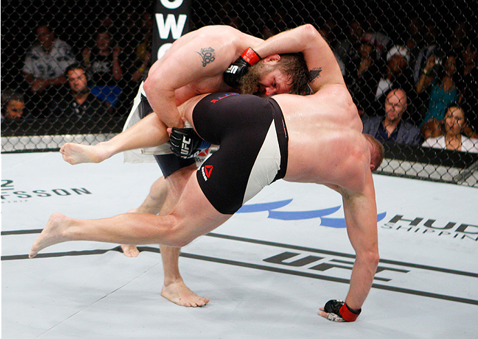 SAITAMA, JAPAN - SEPTEMBER 27:  Roy Nelson of the United States of America takes down Josh Barnett of the United States of America in their heavyweight bout during the UFC event at the Saitama Super Arena on September 27, 2015 in Saitama, Japan. (Photo by