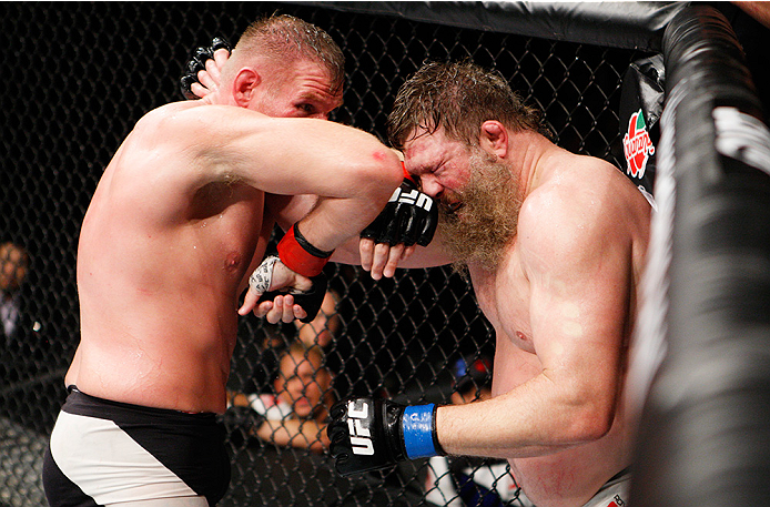SAITAMA, JAPAN - SEPTEMBER 27:  Josh Barnett of the United States of America throws and elbow at Roy Nelson of the United States of America in their heavyweight bout during the UFC event at the Saitama Super Arena on September 27, 2015 in Saitama, Japan.