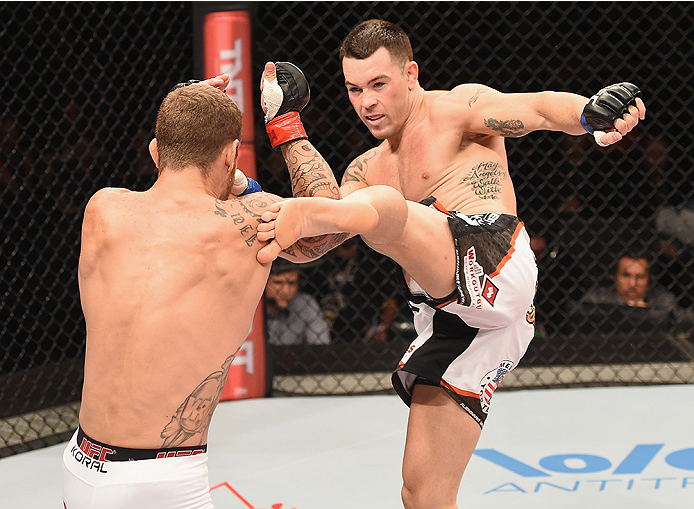 UBERLANDIA, BRAZIL - NOVEMBER 08: Colby Covington of the United States kicks Wagner Silva of Brazil in their welterweight bout during the UFC Fight Night at Sabiazinho Gymnasium on November 8, 2014 in Uberlandia, Brazil. (Photo by Buda Mendes/Zuffa LLC/Zu