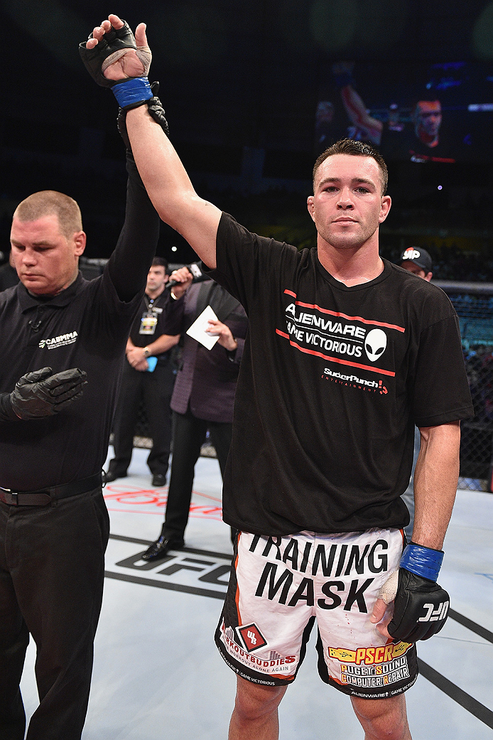 UBERLANDIA, BRAZIL - NOVEMBER 08:  Colby Covington of the United States celebrates after his victory over Wagner Silva of Brazil in their welterweight bout during the UFC Fight Night at Sabiazinho Gymnasium on November 8, 2014 in Uberlandia, Brazil.  (Pho