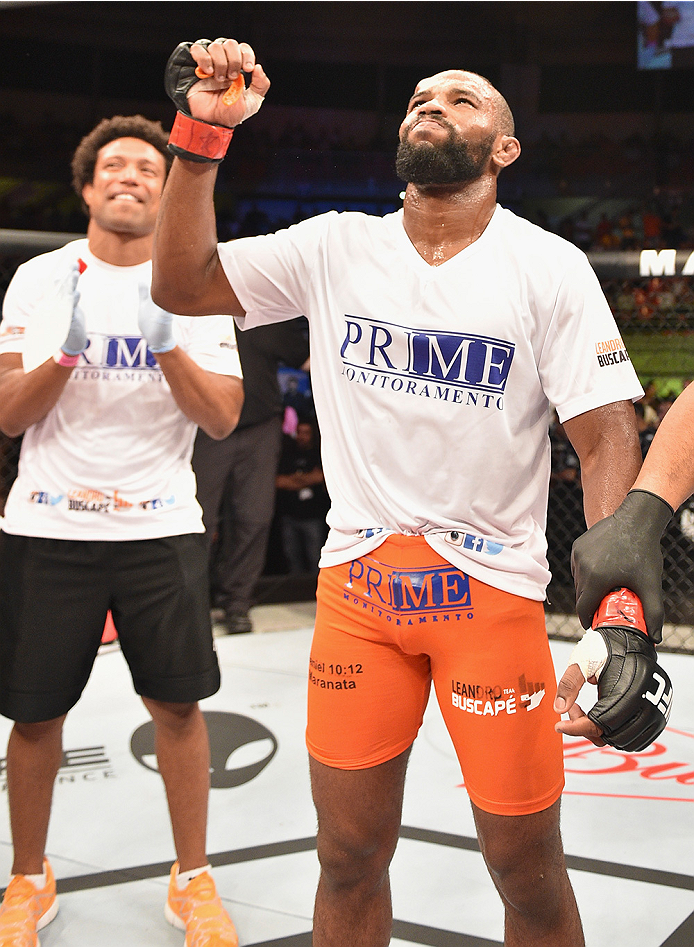 UBERLANDIA, BRAZIL - NOVEMBER 08:  Leandro Silva of Brazil celebrates his victory over Charlie Brenneman of the United States  in their lightweight bout during the UFC Fight Night at Sabiazinho Gymnasium on November 8, 2014 in Uberlandia, Brazil.  (Photo