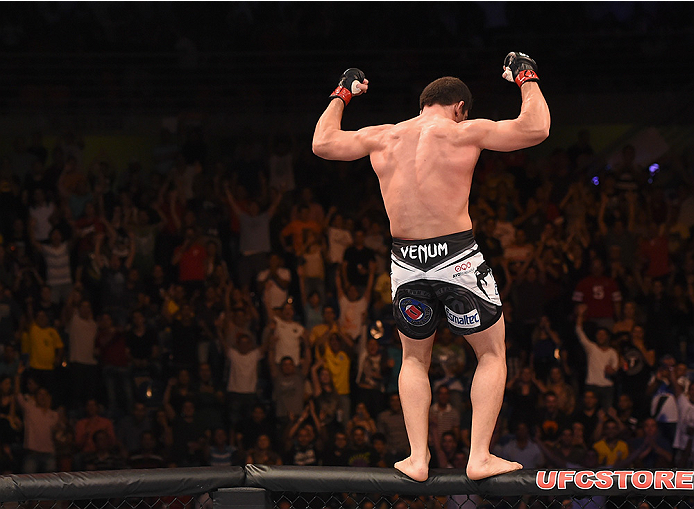 UBERLANDIA, BRAZIL - NOVEMBER 08:  Caio Magalhaes celebrates after his victory over Trevor Smith of the United States  in their middleweight bout during the UFC Fight Night at Sabiazinho Gymnasium on November 8, 2014 in Uberlandia, Brazil.  (Photo by Buda