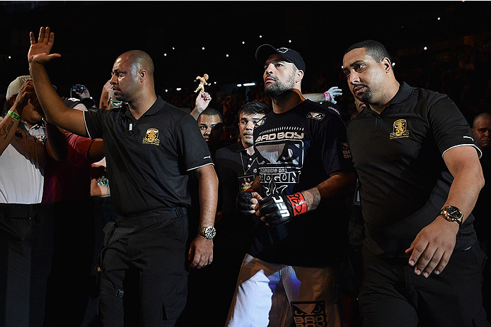 UBERLANDIA, BRAZIL - NOVEMBER 08:  Mauricio 'Shogun' Rua enters the arena  before his light heavyweight  bout against Ovince Saint Preux of the United States  during the UFC Fight Night at Sabiazinho Gymnasium on November 8, 2014 in Uberlandia, Brazil.  (