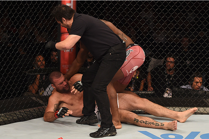 UBERLANDIA, BRAZIL - NOVEMBER 08:  Ovince Saint Preux of the United States punches Mauricio Shogun Rua of Brazil in their light heavyweight bout during the UFC Fight Night at Sabiazinho Gymnasium on November 8, 2014 in Uberlandia, Brazil.  (Photo by Buda