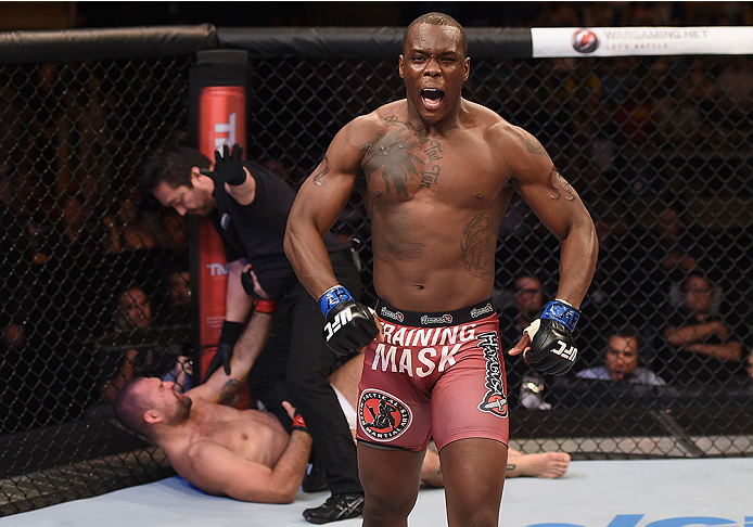 UBERLANDIA, BRAZIL - NOVEMBER 08:  Ovince Saint Preux of the United States celebrates after defeating Mauricio Shogun Rua of Brazil by TKO in their light heavyweight bout during the UFC Fight Night at Sabiazinho Gymnasium on November 8, 2014 in Uberlandia