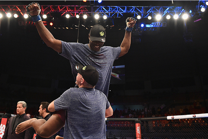 UBERLANDIA, BRAZIL - NOVEMBER 08:  Ovince Saint Preux celebrates after defeating Mauricio 'Shogun' Rua of Brazil by TKO in their light heavyweight bout during the UFC Fight Night at Sabiazinho Gymnasium on November 8, 2014 in Uberlandia, Brazil.  (Photo b
