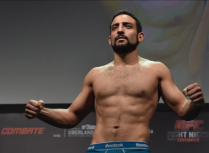 UBERLANDIA, BRAZIL - NOVEMBER 07:  UFC fighter Rodolfo Rubio weighs in during the UFC Fight Night weigh-in at Sabiazinho Gymnasium on November 7, 2014 in Uberlandia, Brazil.  (Photo by Buda Mendes/Zuffa LLC/Zuffa LLC via Getty Images)
