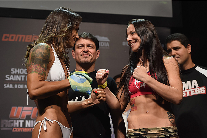 UBERLANDIA, BRAZIL - NOVEMBER 07:  (L-R) Opponents Juliana Lima and Nina Ansaroff face off during the UFC Fight Night weigh in at Sabiazinho Gymnasium on November 7, 2014 in Uberlandia, Brazil.  (Photo by Buda Mendes/Zuffa LLC/Zuffa LLC via Getty Images)