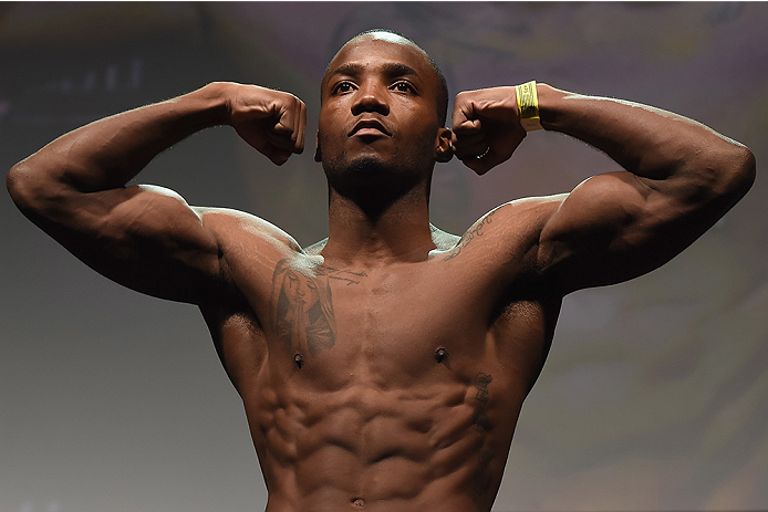 UBERLANDIA, BRAZIL - NOVEMBER 07:  UFC fighter Leon Edwards of England weighs in during the UFC Fight Night weigh in at Sabiazinho Gymnasium on November 7, 2014 in Uberlandia, Brazil.  (Photo by Buda Mendes/Zuffa LLC/Zuffa LLC via Getty Images)