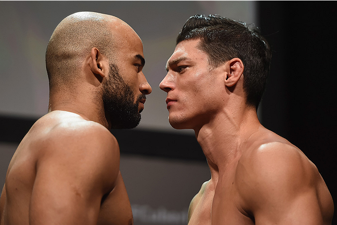 UBERLANDIA, BRAZIL - NOVEMBER 07:  (L-R) Opponents Warlley Alves and Alan Jouban face off during the UFC Fight Night weigh-in at Sabiazinho Gymnasium on November 7, 2014 in Uberlandia, Brazil.  (Photo by Buda Mendes/Zuffa LLC/Zuffa LLC via Getty Images)