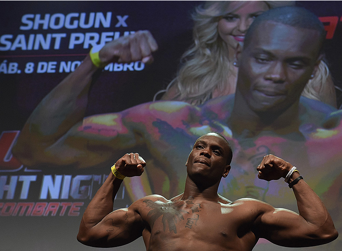 UBERLANDIA, BRAZIL - NOVEMBER 07:  UFC light heavyweight fighter Ovince Saint Preux of the United States weighs in during the UFC Fight Night weigh-in at Sabiazinho Gymnasium on November 7, 2014 in Uberlandia, Brazil.  (Photo by Buda Mendes/Zuffa LLC/Zuff