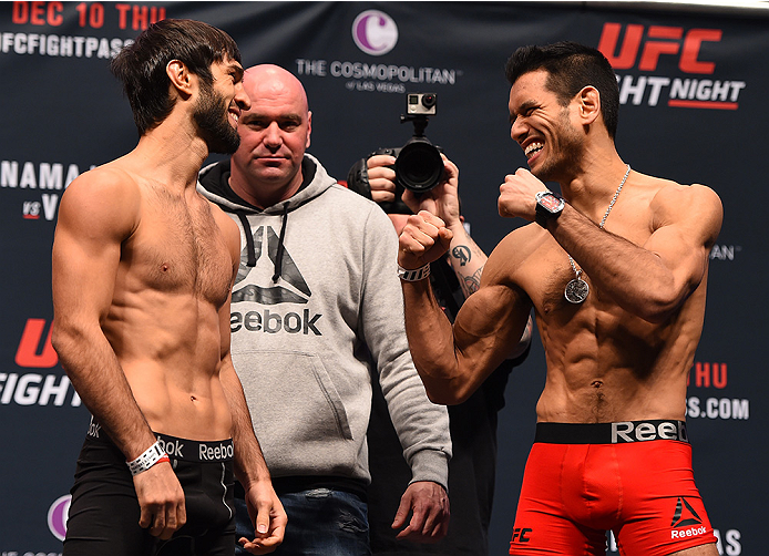 LAS VEGAS, NV - DECEMBER 09:  (L-R) Opponents Zubaira Tukhugov of Russia and Phillipe Nover face off during the UFC Fight Night weigh-in inside MGM Grand Garden Arena on December 9, 2015 in Las Vegas, Nevada.  (Photo by Josh Hedges/Zuffa LLC/Zuffa LLC via