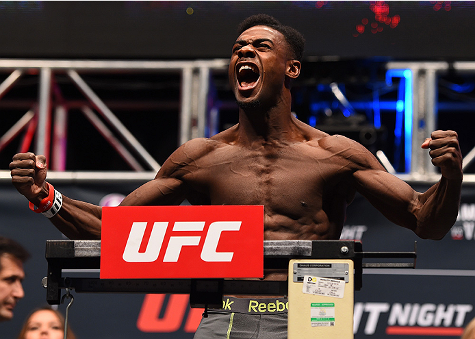 LAS VEGAS, NV - DECEMBER 09:  Aljamain Sterling weighs in during the UFC Fight Night weigh-in inside MGM Grand Garden Arena on December 9, 2015 in Las Vegas, Nevada.  (Photo by Josh Hedges/Zuffa LLC/Zuffa LLC via Getty Images)