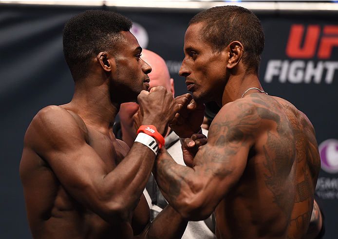 LAS VEGAS, NV - DECEMBER 09:  (L-R) Opponents Aljamain Sterling and Johnny Eduardo of Brazil face off during the UFC Fight Night weigh-in inside MGM Grand Garden Arena on December 9, 2015 in Las Vegas, Nevada.  (Photo by Josh Hedges/Zuffa LLC/Zuffa LLC vi
