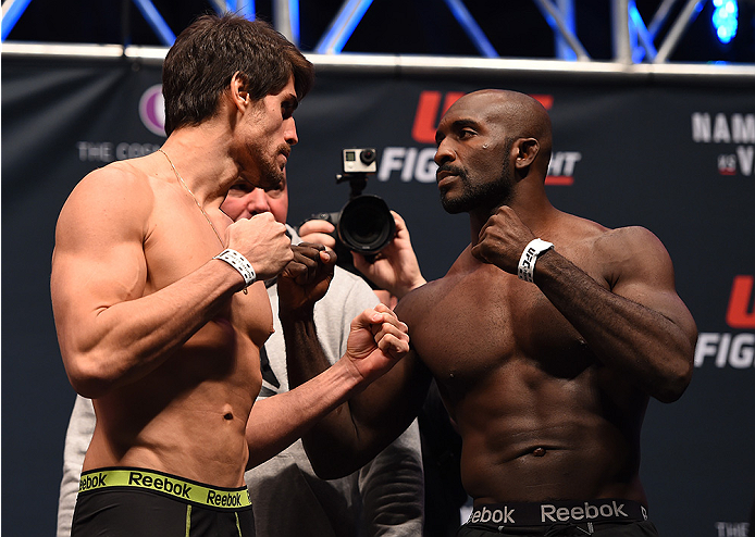 LAS VEGAS, NV - DECEMBER 09:  (L-R) Opponents Antonio Carlos Junior of Brazil and Kevin Casey face off during the UFC Fight Night weigh-in inside MGM Grand Garden Arena on December 9, 2015 in Las Vegas, Nevada.  (Photo by Josh Hedges/Zuffa LLC/Zuffa LLC v