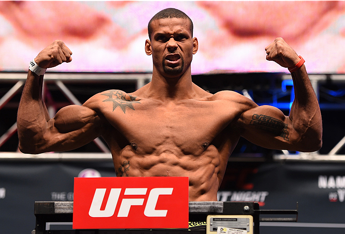 LAS VEGAS, NV - DECEMBER 09:  Thiago Santos of Brazil weighs in during the UFC Fight Night weigh-in inside MGM Grand Garden Arena on December 9, 2015 in Las Vegas, Nevada.  (Photo by Josh Hedges/Zuffa LLC/Zuffa LLC via Getty Images)