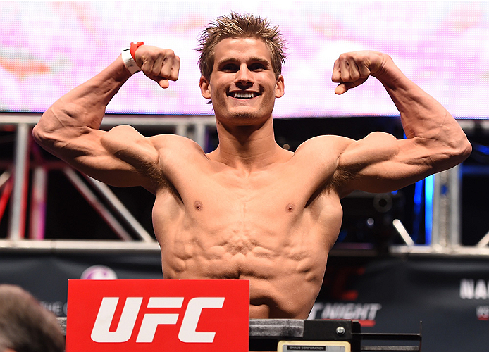 LAS VEGAS, NV - DECEMBER 09:  Sage Northcutt weighs in during the UFC Fight Night weigh-in inside MGM Grand Garden Arena on December 9, 2015 in Las Vegas, Nevada.  (Photo by Josh Hedges/Zuffa LLC/Zuffa LLC via Getty Images)