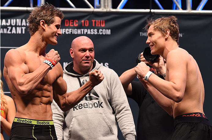 LAS VEGAS, NV - DECEMBER 09:  (L-R) Opponents Sage Northcutt and Cody Pfister face off during the UFC Fight Night weigh-in inside MGM Grand Garden Arena on December 9, 2015 in Las Vegas, Nevada.  (Photo by Josh Hedges/Zuffa LLC/Zuffa LLC via Getty Images)